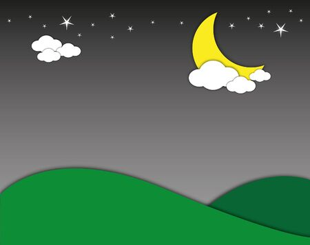 Night landscape mountain with moon and stars. Vector