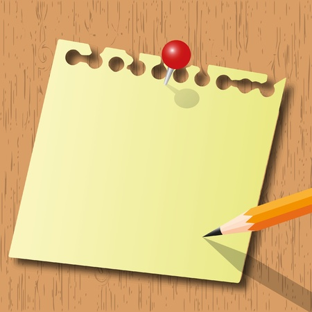 Note pad and pencil with red pin on wood board. Иллюстрация