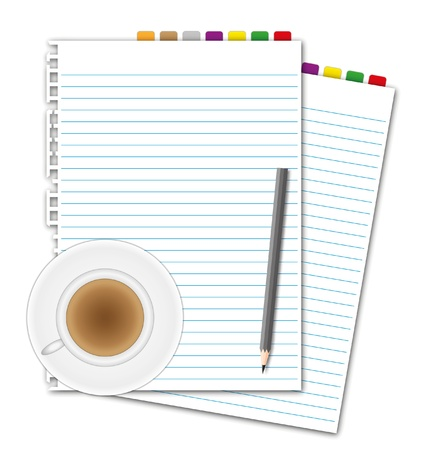 New document paper sheet and bookmarks pencil with coffee. Vector