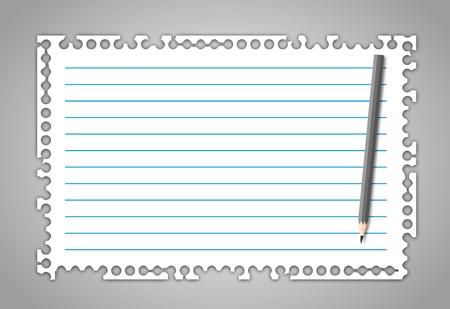 라인과 연필로 새로운 찢어진 종이 노트.