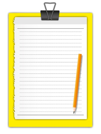 notebook: New paper page holding by paper clip on yellow board and pencil. Illustration