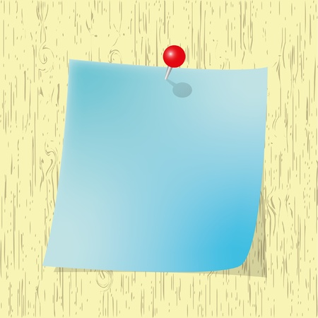 pin board: Blue Sticky  note pad with red pin on wooden board.