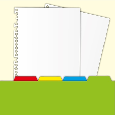 protrude: New paper document and green folder with bookmarks.