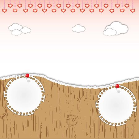 Landscape love hearts background and note pad on torn wooden pattern. Vector