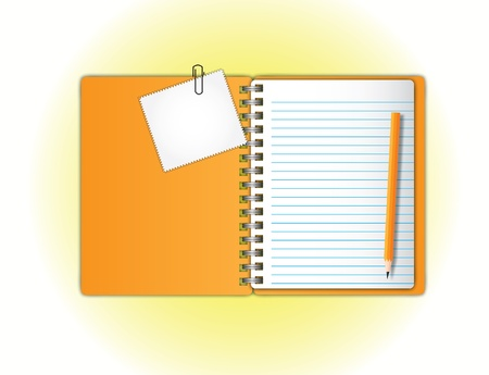 Open page orange notebook and zigzag pad with pencil.