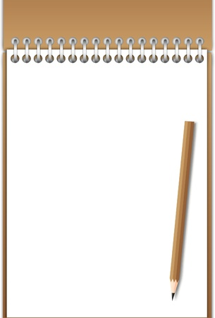 New Note pad and blank space with brown pencil. Vector