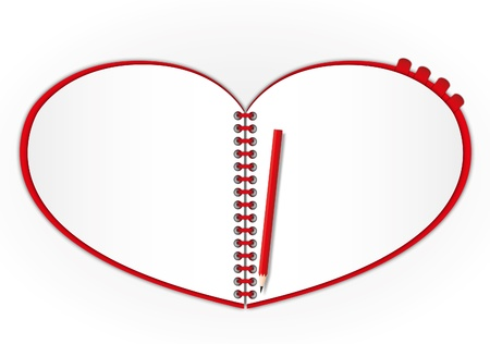 open notebook: Wow !! New open page red heart notebook set bookmarks and pencil.