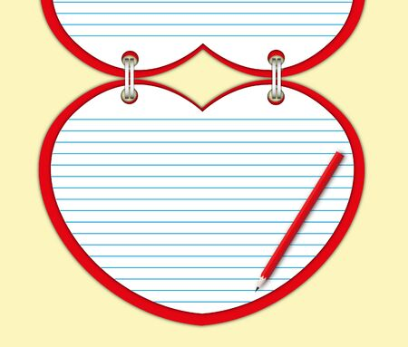 Red heart note pad with blank page and pencil. photo