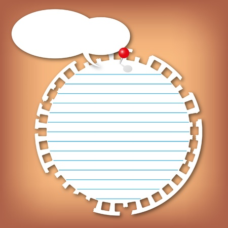 memorize: The torn sticky circle note pad with lines push with red pin. Stock Photo