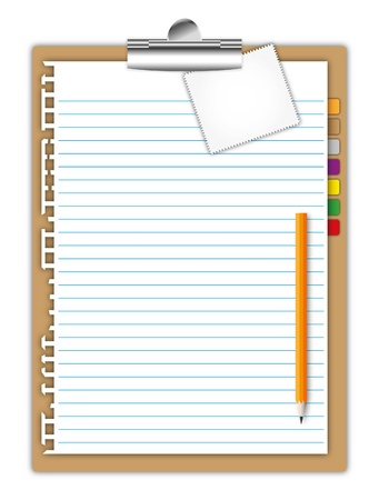 New Blank space paper sheet page with note pad ,pencil and bookmarks on clip board. Stockfoto