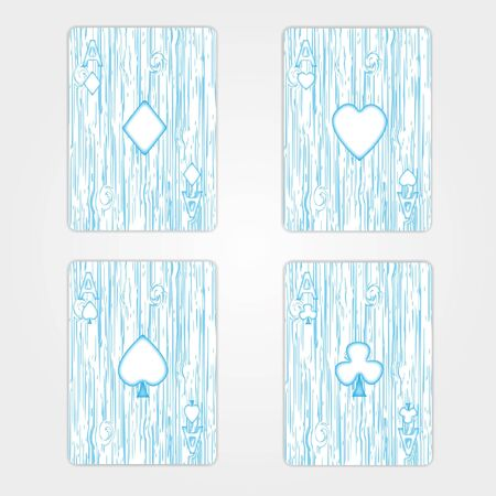 Wooden  Ace card set isolated background. Stock Photo - 12350155