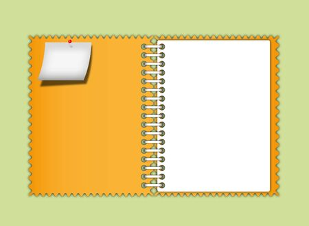 book binding: Orange notebook zigzag border and note pad with page.