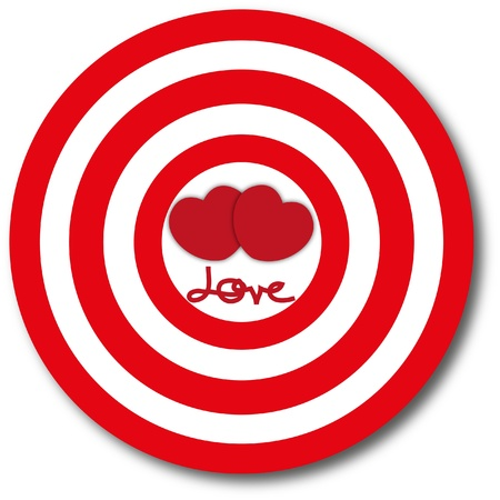 love target: Success and sweet heart dart board with target of love. Stock Photo