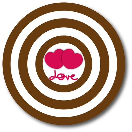 dart board: Heart dart board with target of love. Stock Photo