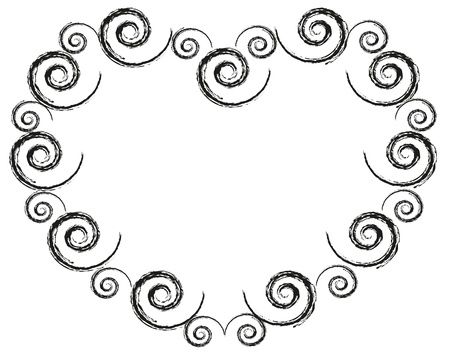 baroque border: Abstract heart frame by spiral pattern.