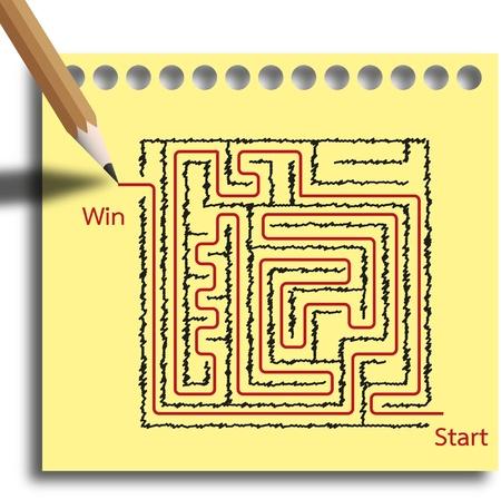 Tape jeu de labyrinthe casse-tête en vous sortez avec une ligne rouge sont gagnant. Banque d'images - 12350147