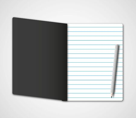 memorize: New dark black cover notebook and paper page with pencil.