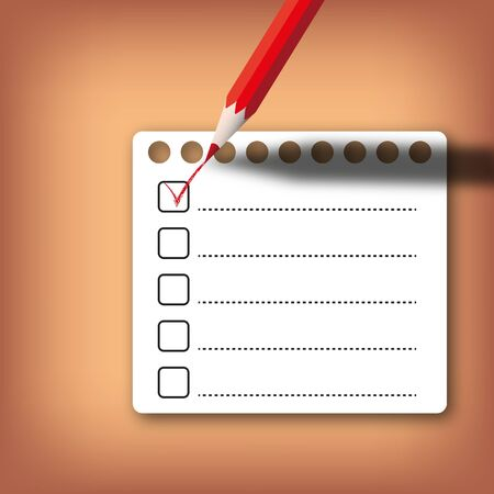 Checklist form with red pencil on abstract background.