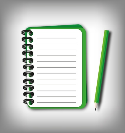 Smaller green notebook with pencil for note.