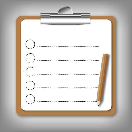 Checklist  form  holding on clip board with pencil. photo