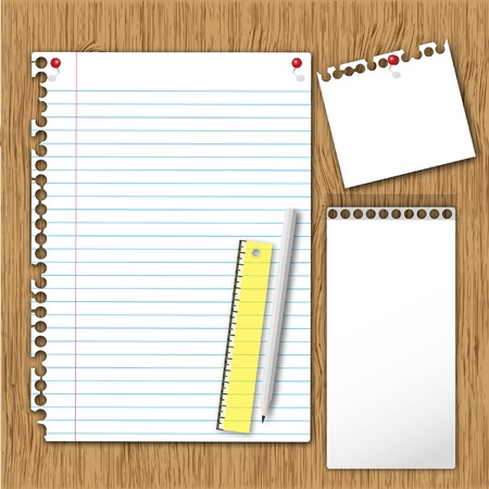 spiral binding: New paper sheet page and note pad with ruler and pencil on board. Stock Photo