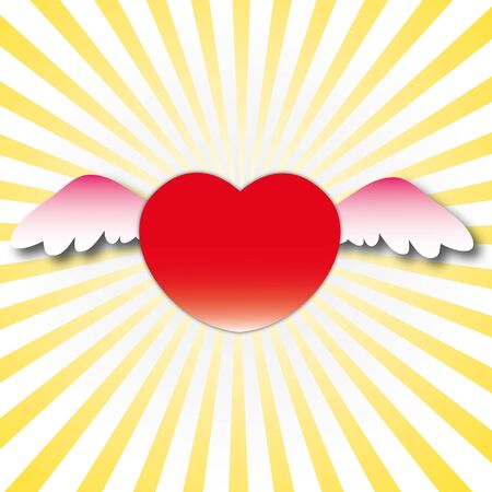 Sweet heart with wings look for love in valentine day.