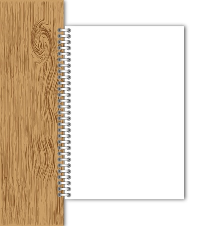 memorize: New paper page hold by wood board.