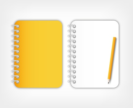 memorize: Open paper page orange notebook with pencil. Stock Photo