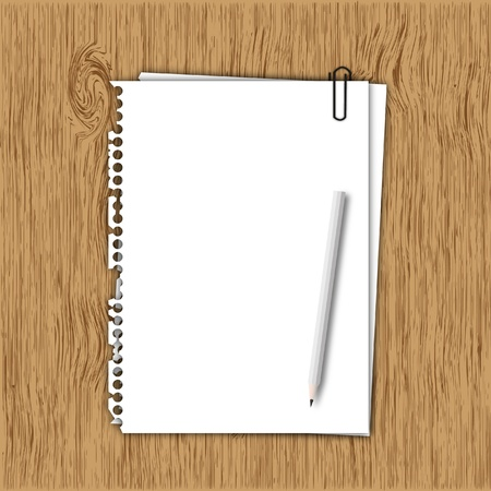 New paper sheet page with gray pencil on wood board  Stock Photo - 12756316