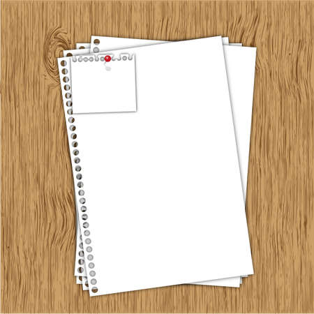 memorize: Blank document paper sheet on wood board