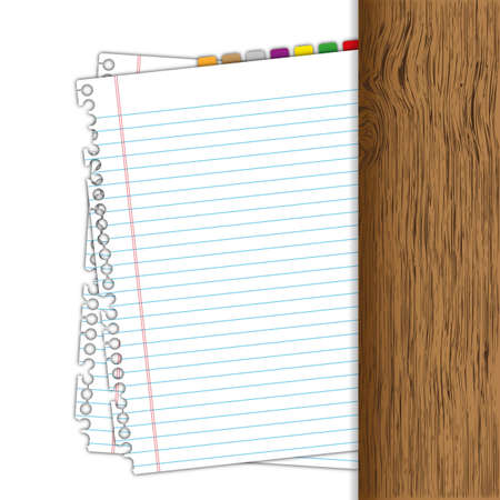 memorize:  Blank paper with bookmarks and wood scale