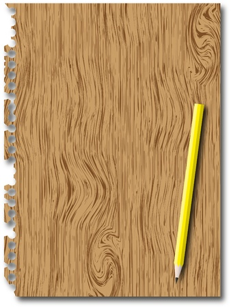memorize: New paper page with wooden texture and pencil