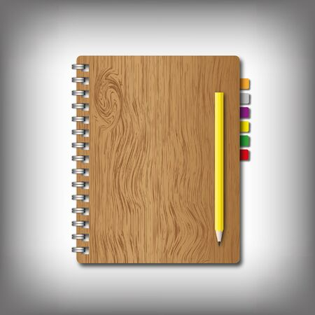 New notebook and texture wooden cover with pencil