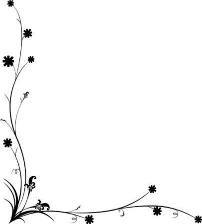 ligne: L'?uvre d'art Vintage Design Floral Frame, riche fleuri, Illustration Illustration
