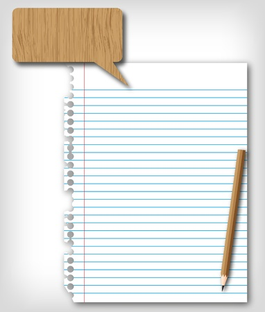 memorize: New blank paper page with brown pencil  Stock Photo