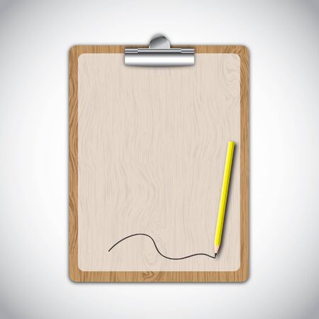 Wooden clipboard with line by yellow pencil