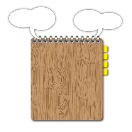 Blank wooden clipboard with space and bookmarks by illustrations