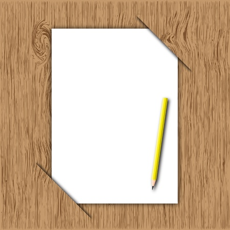 The new paper and yellow pencil throw in wooden board