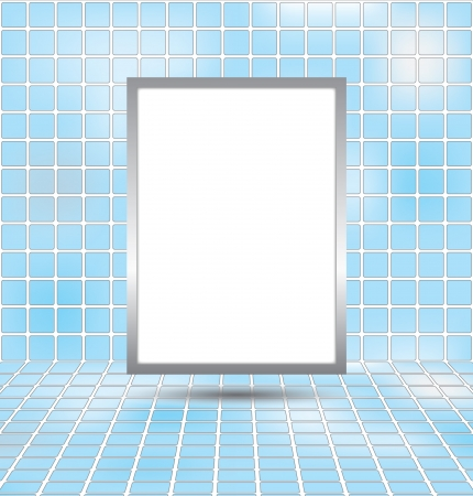 Vertical white board on blue sky abstract background