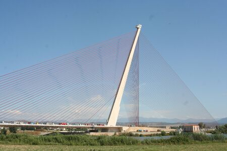 Bridge, cable stayed Talavera, Toledo Stock Photo