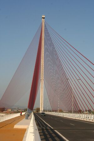Talavera, cable-stayed bridge over the River Tagus Stock Photo