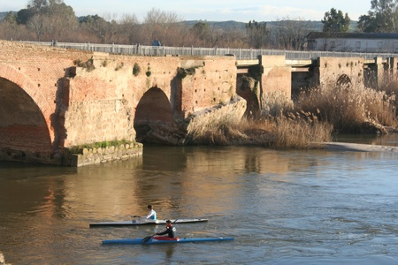 talavera:   Tajo River Old Bridge, Canoeists Talavera, Toledo,