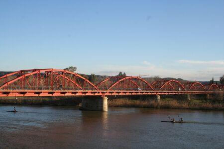 talavera de la reina: Tajo River,  Bridge Reina Sofia, Canoeists, Talavera, Toledo,