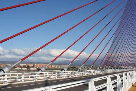 talavera: Suspenders, bridge, cable-stayed Talavera, Toledo Stock Photo