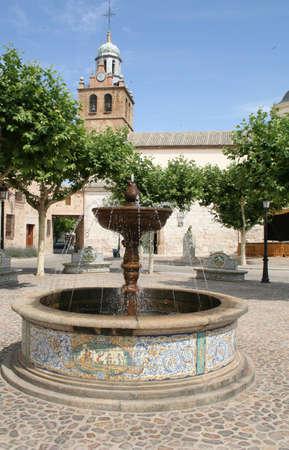 vistas: square and fountain, Puente del Arzobispo, Toledo