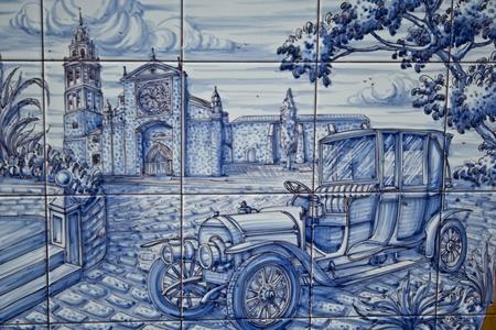 coche:  ceramics  tiles, of Talavera