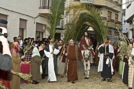 Jésus entre à Jérusalem, La Passion, l'Espagne, Avril 2012 Banque d'images - 13062063