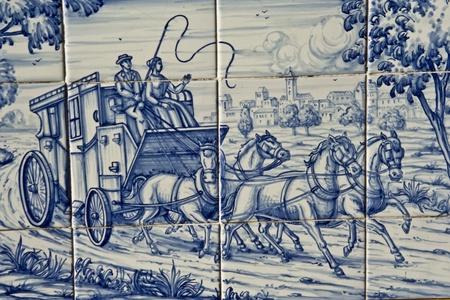 Tile, Talavera Pottery, wagon with horses