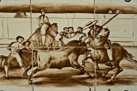 bullfighters: Talavera Ceramic Tiles,  bulls, bullfighters