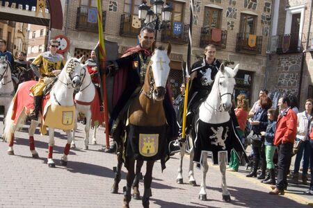 Knights on Horseback, Medieval festivals Oropesa, Toledo, 22/04/20112 Stock Photo - 13266999